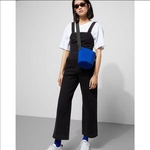 Weekday black denim flared ankle crop jumpsuit